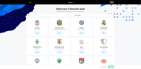 Selecting clubs to set up an account in Sorare